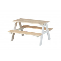 Ensemble table et banc enfant contemporain en pin massif Romuald