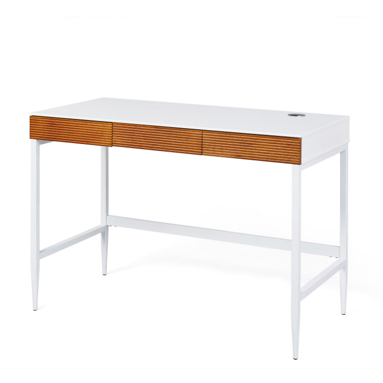 Bureau design bois et métal blanc mat/chêne foncé Angelis
