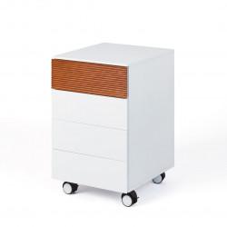 Caisson de bureau design blanc mat/chêne foncé Angelis