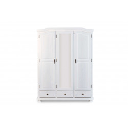 Armoire style campagne 150 cm en pin massif blanc Hada I