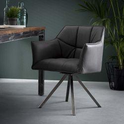 Ensemble vintage de 2 fauteuils avec piétement en acier inoxydable Julian