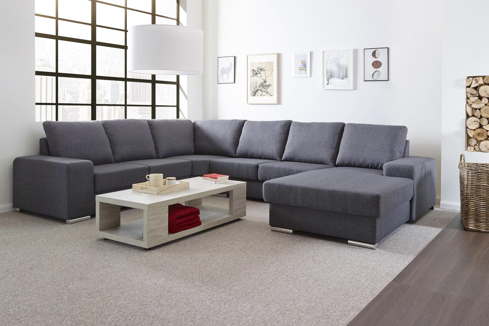 Canapé d'angle panoramique contemporain en tissu gris Babel