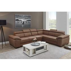 Canapé d'angle moderne en tissu coloris camel Orlane