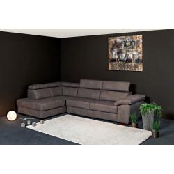 Canapé d'angle moderne en tissu marron foncé Orlane