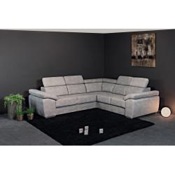 Canapé d'angle moderne en tissu gris clair Orlane