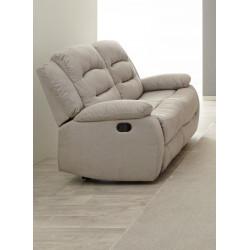 Canapé droit de relaxation manuel 2 places en tissu beige Pretoria