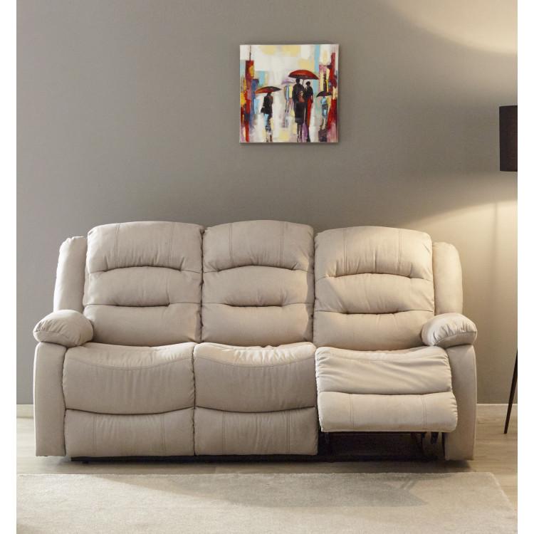 Canapé droit de relaxation manuel 3 places en tissu beige Pretoria
