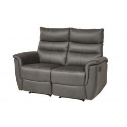 Canapé droit de relaxation manuel 2 places en tissu anthracite Virginia