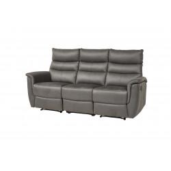 Canapé droit de relaxation manuel 3 places en tissu anthracite Virginia