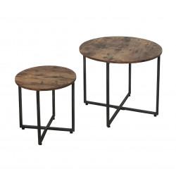 Tables basses industrielles en bois foncé Nadège