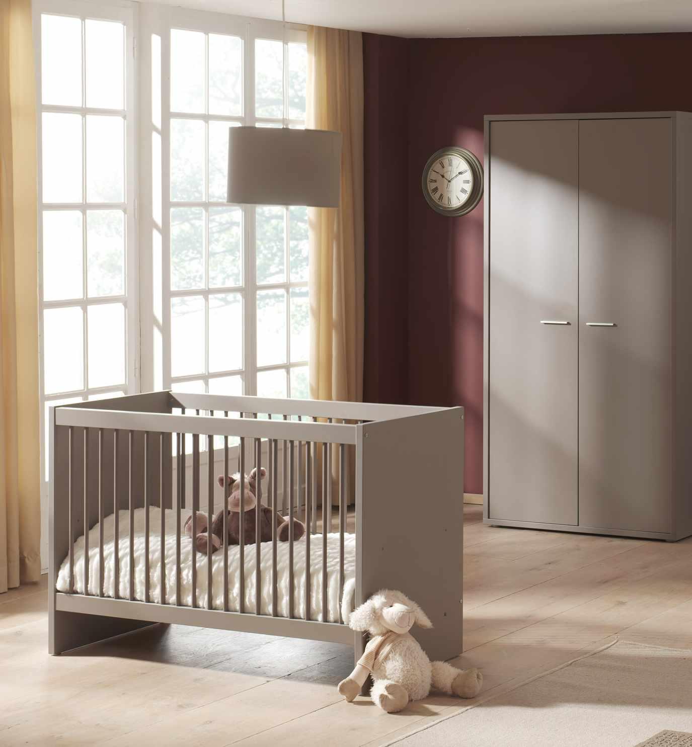 Lit bébé évolutif contemporain coloris basalt gris Donna