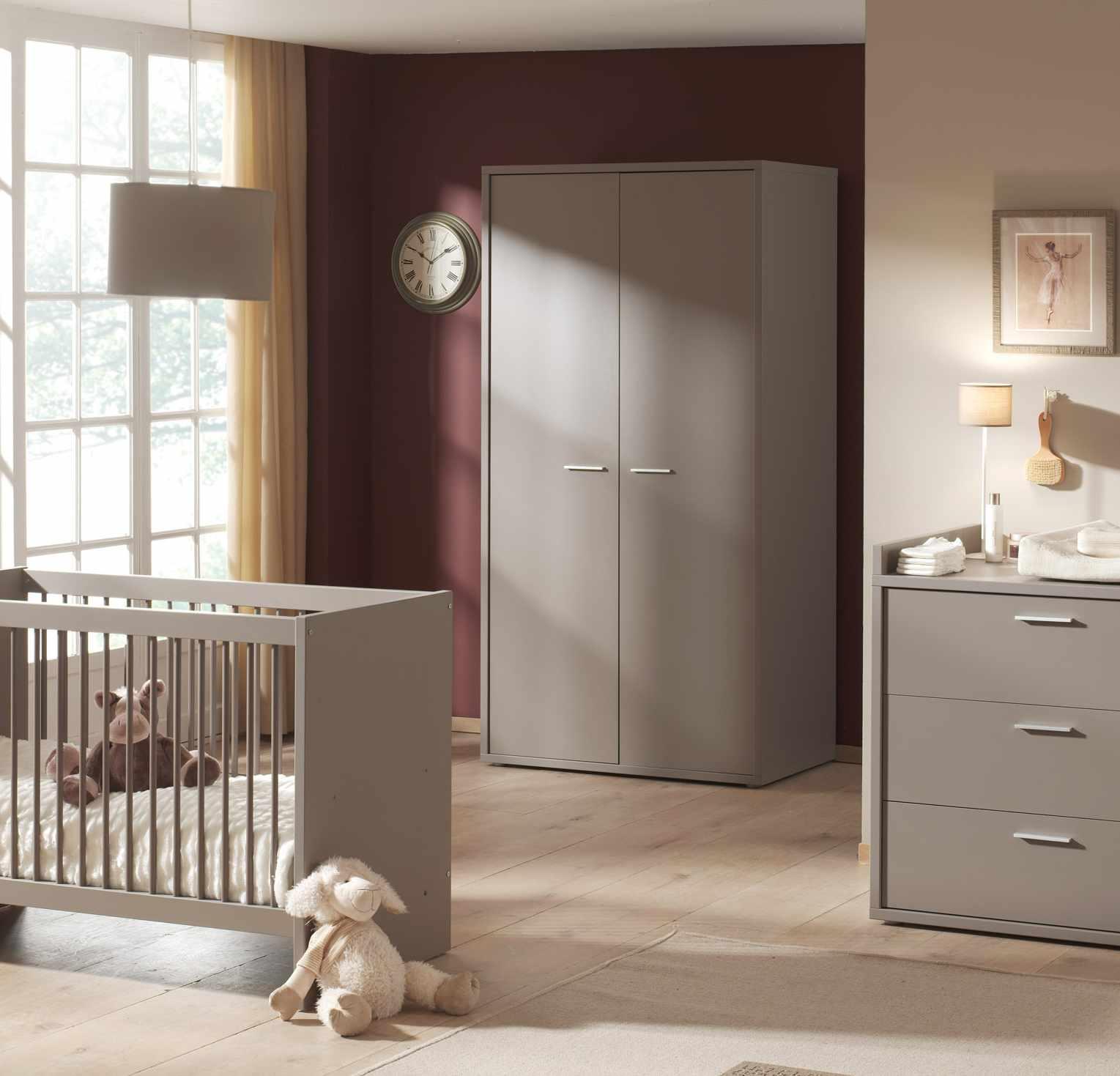 Armoire 2 portes contemporaine coloris basalt gris Donna