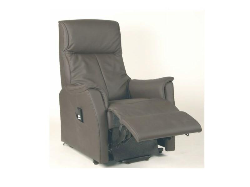 Fauteuil de relaxation 100 % cuir électrique massant releveur avec repose-pieds intégré CITIZEN