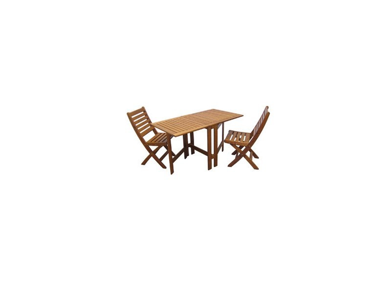 Salon de jardin JOHAN (table + 2 chaises pliantes)