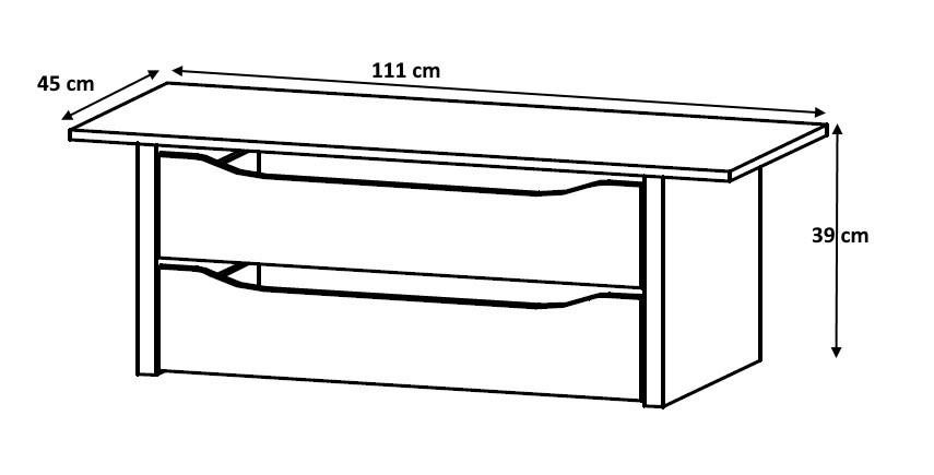 Bloc 2 tiroirs 111 cm Johana