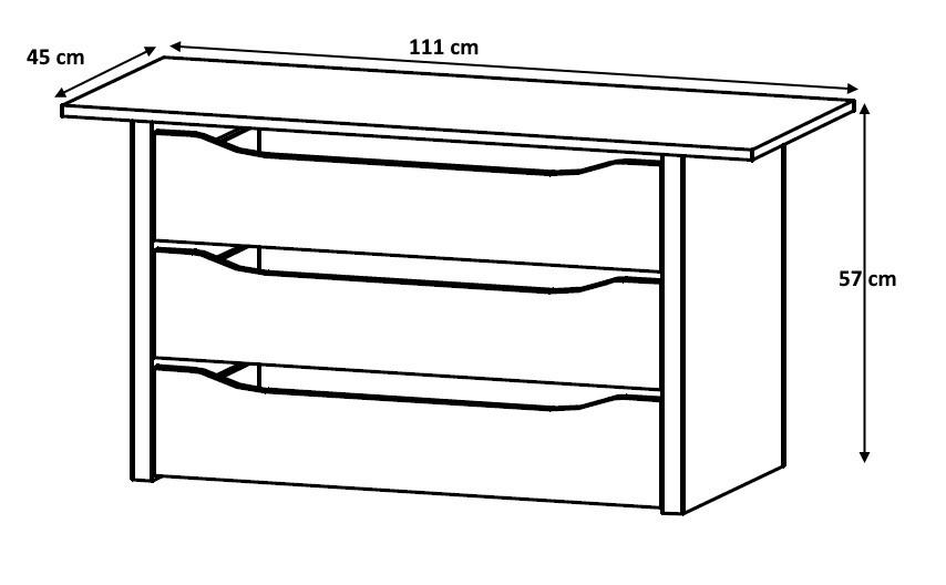 Bloc 3 tiroirs 111 cm Johana