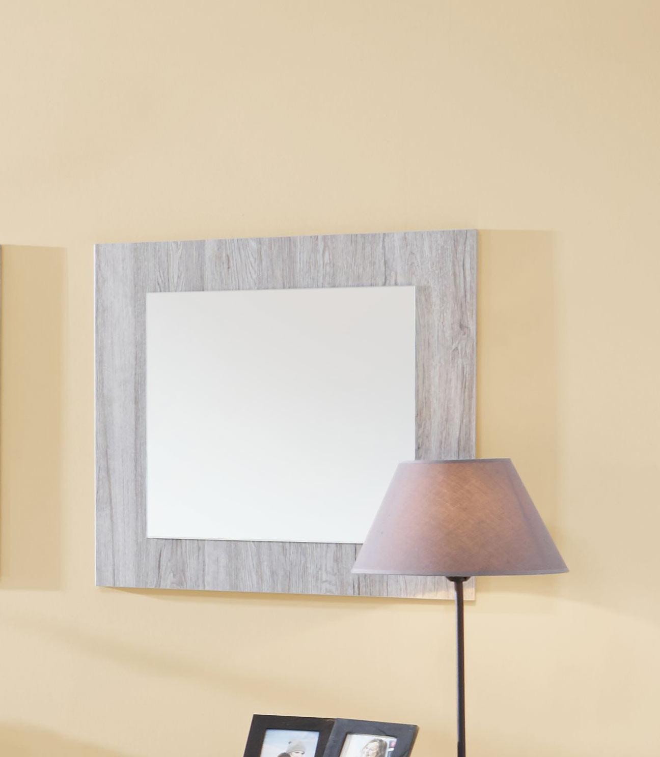 Miroir carré contemporain chêne gris Merry