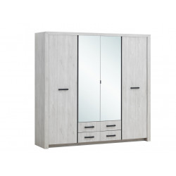 Armoire contemporaine 218 cm chêne blanc Curtis