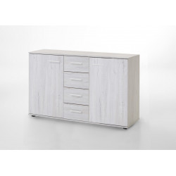 Commode contemporaine 130 cm chêne blanc Estonia I