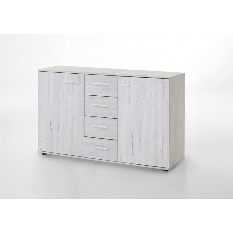 Commode contemporaine 130 cm chêne blanc Estonia I