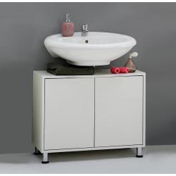 Meuble sous lavabo contemporain blanc Nora