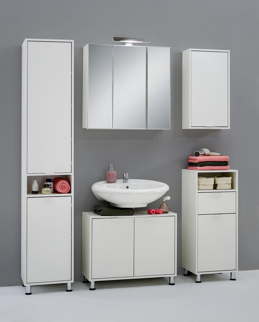 Ensemble de salle de bain contemporain blanc Nora