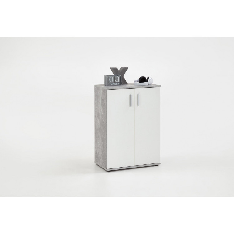 Meuble de rangement contemporain 60 cm blanc/béton Candice