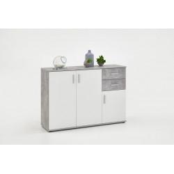 Meuble de rangement contemporain 121 cm blanc/béton Candice