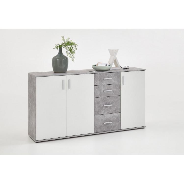 Meuble de rangement contemporain 160 cm blanc/béton Candice