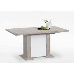 Table de salle à manger moderne extensible chêne/blanc Bérengère