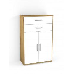 Armoire de bureau contemporaine H 124 cm chêne/blanc Texas