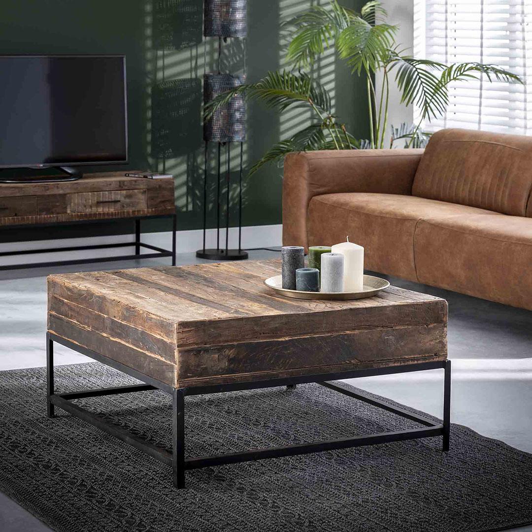 Table basse vintage en bois recyclé Paul
