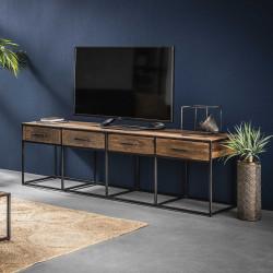 Meuble TV contemporain en bois 4 tiroirs Lucie