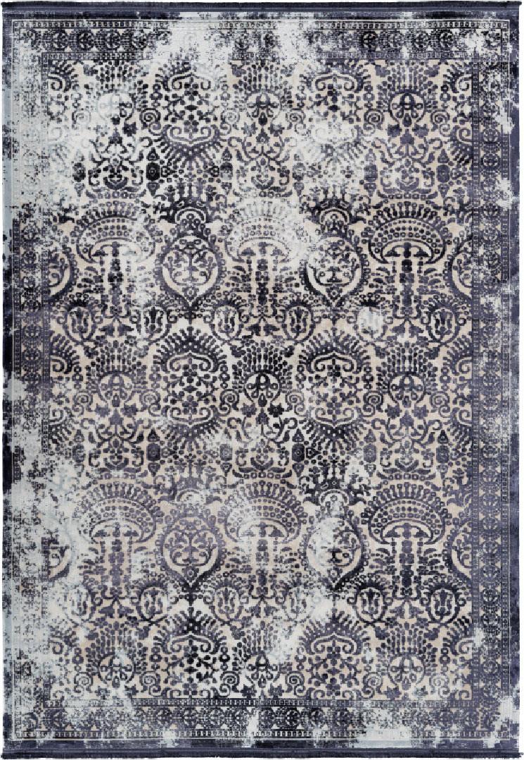Tapis vintage argenté avec franges rayé pour salon Elysee