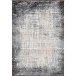 Tapis rayé argenté avec franges vintage rectangle Elysee
