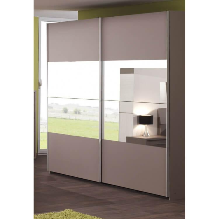 Armoire contemporaine portes coulissante coloris basalte gris Inès