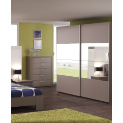 Armoire contemporaine portes coulissante coloris basalte gris Inès II