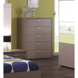 Commode haute contemporaine 5 tiroirs coloris basalte gris Ines