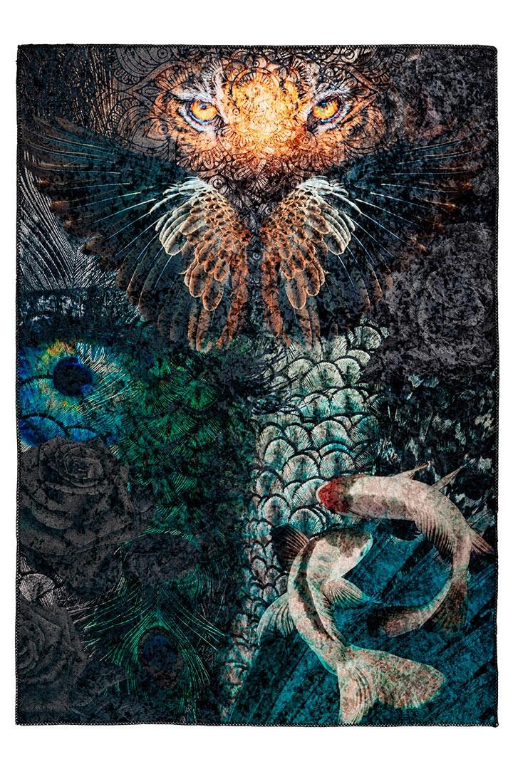 Tapis design ethnique multicolore en polyester Oliva