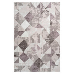 Tapis vintage polyester rectangle taupe rayé Monto