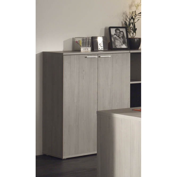 Armoire basse de bureau contemporaine coloris bouleau gris Alrun