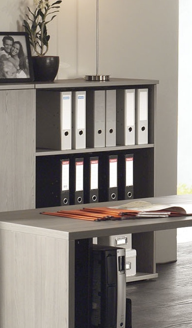 Etagère de bureau contemporaine coloris bouleau gris Alrun