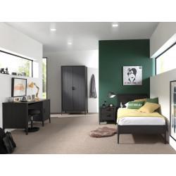 Chambre enfant moderne frêne noir mat Loriane