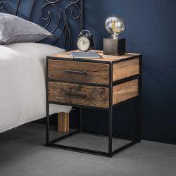 Table de chevet contemporaine en bois 2 tiroir Anaïs