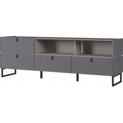 Meuble TV moderne 195 cm gris graphite Osaka