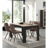 Table de salle à manger industrielle chêne/noir Loic