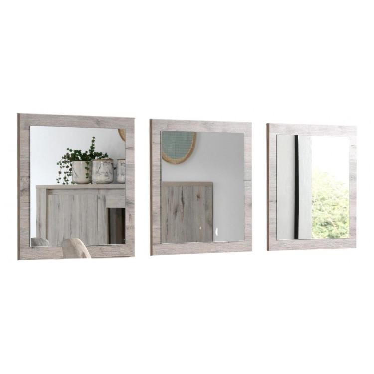 Miroir carré chêne clair (lot de 3) Varsovie