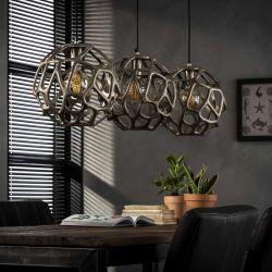 Suspension industrielle en métal coloris bronze 3 lampes Ø29 cm Edna