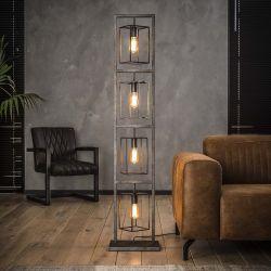 Lampadaire industriel en métal argent 4 lampes Jimmy