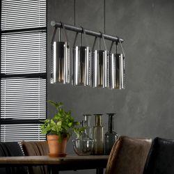 Suspension vintage en métal et verre 4 lampes Bastien